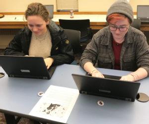 students transcribe closeup